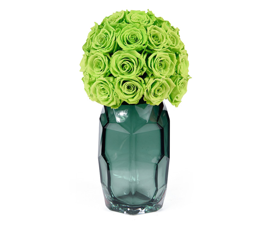 Green Glow In Contemporary Vase Royal Roses