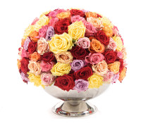 Mixed Premium Roses In Punch Bowl
