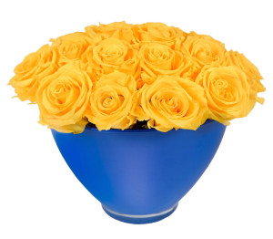 Sunny Yellow In Blue Vase